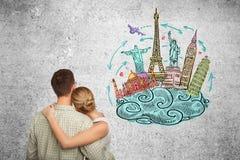 Man and woman dreams a travel Royalty Free Stock Image