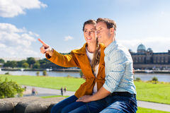 Man and woman in Dresden at Elbe riverbank Stock Images