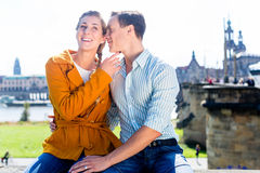 Man and woman in Dresden at Elbe riverbank Royalty Free Stock Image