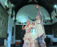 Man and woman dressed as ghost prince and princess, Halloween celebration,Bunratty Castle,County Clare,Ireland,2014 Stock Image