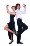 Man and a woman dressed in black Stock Photography