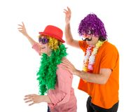 Man and Woman dressed in carnival costumes dancing a polonaise Royalty Free Stock Image