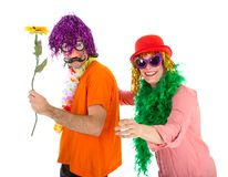 Man and Woman dressed in carnival costumes dancing a polonaise Royalty Free Stock Photos