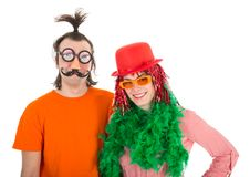 Man and Woman dressed in funny carnival costumes Royalty Free Stock Photo