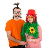 Man and Woman dressed in funny carnival costumes Stock Photography