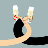 Man and woman drink wine. Mens hand and a glass of champagne.  Stock Image