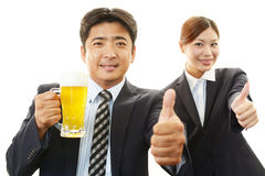 Man and woman drinking beer Stock Photography