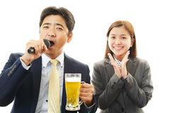 Man and woman drinking beer Royalty Free Stock Image