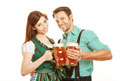 Man and woman drinking beer Royalty Free Stock Images