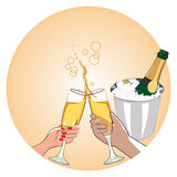 Man and woman drinking champagne. Male and female hand holding a glass of champagne Royalty Free Stock Images
