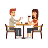 Man and woman drinking coffee in a cafe, vector flat illustration. People spend their time in the cafeteria, drinking coffee and eating desserts vector illustration