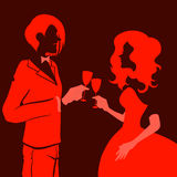 Man and woman drinking fizz. Silhouette of a beautiful young loving couple drinking champagne. Themes are romantic, wedding, love,happy, relationship. Vector Stock Photo