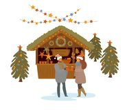 Man and woman drinking hot mulled wine at christmas market, isolated illustration stock illustration