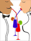 Man and woman drinking kokteyl.Vektor Stock Photo