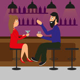 Man and woman drinking in a pub or bar. Couple toasting drinks and speaking. vector illustration Royalty Free Stock Image