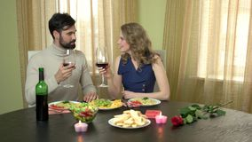 Man and woman drinking wine. stock video