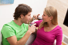 Man with woman drinking wine Stock Photography
