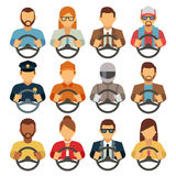 Man and woman drivers vector flat icons Stock Photos