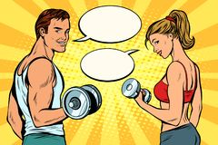 Man and woman with dumbbells, comic strip dialogue bubble Stock Photos