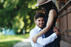 Man and woman embracing each other Stock Photos
