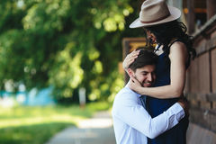 Man and woman embracing each other Royalty Free Stock Photos