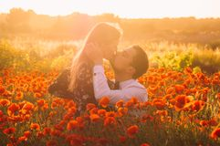 Man and woman embracing and kissing in poppy field on the dusk. Countryside Malta stock image
