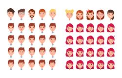 Man and Woman Emotions Set Vector Illustration. Man and woman emotions set constructor of emotions male and femaly smiling and feeling sad, sleepy and surprised Royalty Free Stock Photo