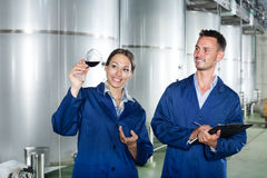 Man and woman employees on winery manufactory Royalty Free Stock Images