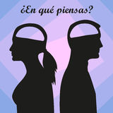Man and woman with empty brain. Spanish text Royalty Free Stock Photo