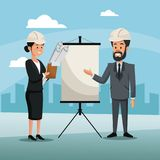 Man and woman engineer construction presentation board cityscape Royalty Free Stock Photo