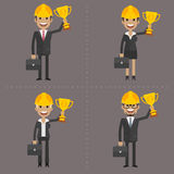 Man and woman engineer holding cup Royalty Free Stock Photo