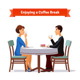 Man and woman enjoying a coffee break an some cake. Flat style illustration or icon. EPS 10 vector Royalty Free Stock Image