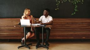 Man and woman entrepreneurs discussing work at a coffee shop Royalty Free Stock Image
