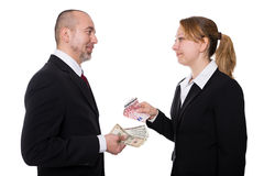 Man and woman with euro and dollar Royalty Free Stock Photography