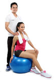 Man and woman exercise Stock Photo