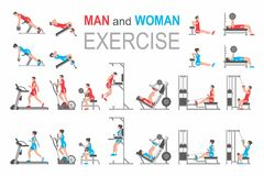 Man and Woman exercise. Exercises on exercise machine. Isolated white background. Flat style vector illustration