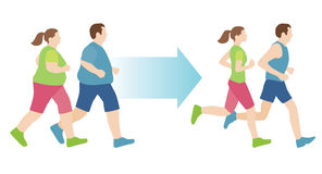 Man and woman before and after exercise Royalty Free Stock Photo