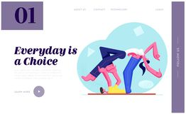 Man and Woman Exercising, Young Couple Workout Aerobics, Body Building. Male Character Lying on Back Holding Female Posture. Website Landing Page, Web Page royalty free illustration