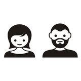 Man and woman face icons Stock Photos