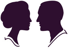Man and woman face profile stock illustration