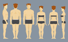 Man and woman face and profile bodies. White man and white woman bodies front, back and profile. Vector infographic illustration Stock Image