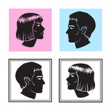 Man and woman face profile, male and female silhouette. Vector Royalty Free Stock Image
