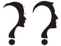 Man and woman face with question mark. Isolated man and woman face with question mark on white background Stock Images