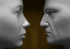 Man and woman. Face to face, close-up Royalty Free Stock Photos