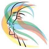 Man and woman faces in breeze of colors royalty free illustration