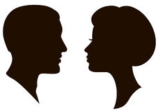 Man and woman faces profiles Stock Photos