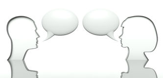 Man and woman faces profiles with speech bubbles Stock Photo