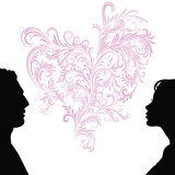 Man and woman faces silhouettes Royalty Free Stock Photos