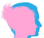 Man and woman faces silhouettes Stock Images