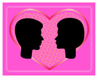 Man and woman faces vector profiles. Lovers stock illustration